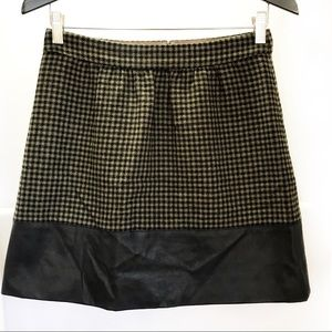JCrew Factory Gingham Wool Faux Leather Trim Skirt